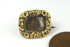 ANTIQUE GEORGIAN PERIOD ENGLISH GOLD MOURNING BROOCH c1820