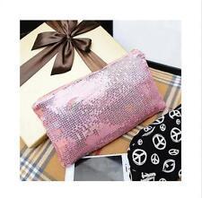 Chic Glitter Sequins Handbag Evening Party Clutch Bag Wallet Purse Women Pink 1p