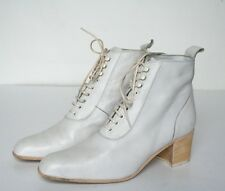 UK 5 White Leather Lace-Up Ankle Boots - Victorian Style - Giorgia Gigli - 38