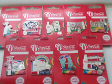 LONDON 2012 OLYMPICS COCA - COLA TYPICALLY BRITISH 9 PIN BADGE FULL SET