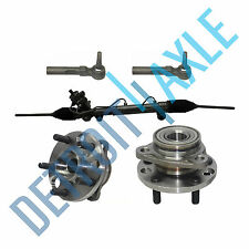 5 pc Set: Steering Rack and Pinion + 2 Wheel Hub Bearing + 2 Outer Tie Rod End