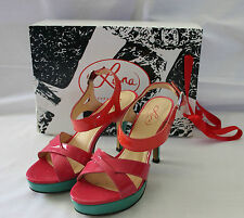 LEONA EDMISTON ~ Bailey Leather Aqua Pink Orange Patent Heel Sandals 36 5 EUC