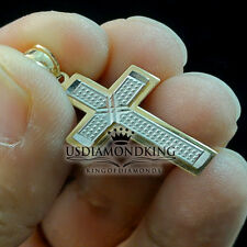 10K 100% Two Tone Solid Gold Jesus Cross Pendant Charm 1.12 Inch 1.4g Men Women