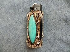 Turquoise, Onyx & Abalone Sterling Silver Lighter Case Joe Paul Jr. Navajo 1978