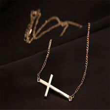 Women Horizontal Sideways Cross Gold/Silver Choker Pendant Collar Necklace Chain