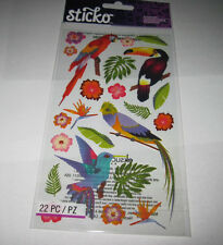 Scrapbooking Stickers Sticko Colorful Birds Parrot Humming Bird Branches Glitter