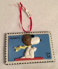 Peanuts 2001 Commemorative Porcelain Stamp World War I Flying Snoopy Ornament