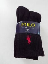 Ralph Lauren 3 Pair Boys Black Crew Socks 4-7 Shoe 10-13 New