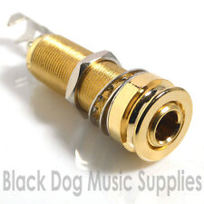 Guitar Jack Input socket strap pin in gold screw in 3 pole stereo