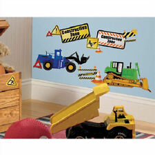 CONSTRUCTION TRUCKS wall stickers 37 decals decor signs cement bulldozer crane +