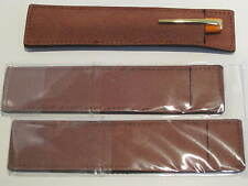 Lot of 3 CHOCOLATE BROWN SUEDE LEATHER Pen Pouch/Sleeve/ Holder