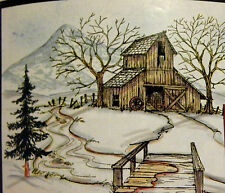 BARN CREEK MT BRIDGE TREE5p RETIRED  L@@K@examples ART IMPRESSIONS RUBBER STAMPS