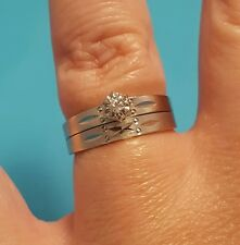 Solid 10k White Gold Solitaire Diamond Engagement Wedding Ring Set 5.75 5 3/4