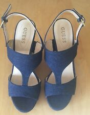 NEW Women's Designer Guess UK 6 EU 39 Blue Denim Wedge Buckle Heels