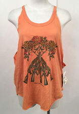 Obey Women's Muscle Tank Top Tons of Guns Orange MED NWT Flowers Shepard Fairey