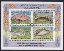 Sao Tome Block 43 A Olympiade Stadion Moskau 1980, Olympic Games, gest.