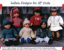 "3 Knitting Patterns for 18"" Doll / American Girl  by LaGala Designs Your Choice"
