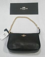 Coach Genuine Black Pebbled Leather Wristlet Gold Chain F53340 NEW WITH TAGS!