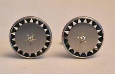Vintage 1970s Lucien Piccard 14K White Gold Saphire and Diamond Cufflinks