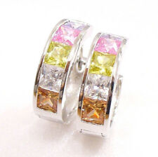 Men Unisex New Multi Colour Cubic Zirconia White Gold Plated 17mm Hoop Earrings