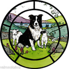 STAINED GLASS WINDOW ART - STATIC CLING  DECORATION - COLLIE AND LAMBS
