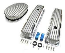 """58-86 Chevy Polished Aluminum Finned Valve Covers & 12"""" x 2"""" Air Cleaner Kit SBC"""