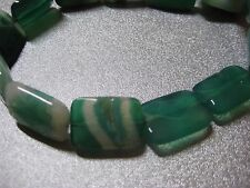 Green Striped Agate Faceted Rectangle Beads 20pcs