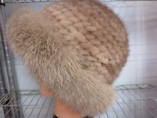 Fashion Elegant  /Real Mink Fur knitted  with Fox fur  cap/hat/ light brown