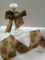 PINE CONES Rustic Hessian Jute style - Luxury Wire Edged Ribbon 63mm