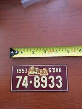 South Dakota 1953 Mini Metal License Plate 74-8944