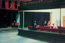 Nighthawks poster! Classic Edward Hopper Diner Late Night Focal American Art