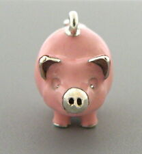 TIFFANY & Co. STERLING SILVER ENAMEL PINK PIG CHARM FOR BRACELET TIFFANY POUCH