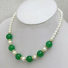 Real White Pearl Green Jade Beads Yellow Gold Plated Crystal Clasp Necklace