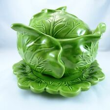 Vintage Holland Mold Pottery Cabbage Bowl With Lid & Underplate