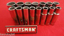 "CRAFTSMAN Socket Set 1/2"" drive MM METRIC 12pt DEEP 15pc LASER ETCHED"