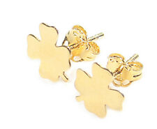 Cute Celebrity Style 0.8mm Clover Studs. Finished In Gold Over Sterling Silver