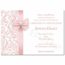 Personalised Christening Baptism Baby Shower Party Invitation Girls Pink Bow