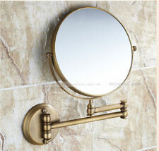 Wall Mounted Extendable Folding Shaving Make Up Bathroom Mirror Antique Brass