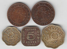 Ceylon - 1 , 2 , 5 , 10   Cents Coin Set -  5 Different
