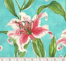 PK Lifestyles Monet's Lily Turquoise Blue Floral Print Home Decor Fabric BTY
