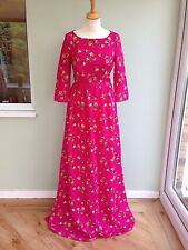 DRESS SIZE 6 MAXI BY DELPHINE MANIVET CUT OUT BACK & BUTTONS  CERISE/LEMON BNWT