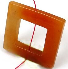 35mm Red Aventurine Square Frame donut Pendant Bead