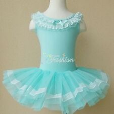 Girls Kids Dance Leotard Ballet Lace Bubble Dress Tutu Skirt Dancewear Costume