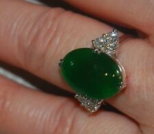 New Green Jadeite Jade ring from Burma Grade A - Diamonds set in platinum