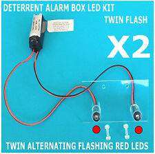 Twin Flash Switched Dummy Alarm LED RED & Bracket 10 Yr Battery FM4 TWIN PACK
