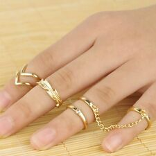 6pcs/Set Gold Urban Rings Crystal Above Band Knuckle stacking Band Midi Mid Ring