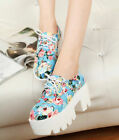 Women's Colorful Floral Flowers Platform Round Toe Lace Up Block Creeper Shoes