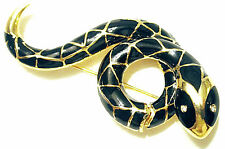 VINTAGE SNAKE SERPENT GILDED PIN JET BLACK RHINESTONE EYE SPHINX for KJL