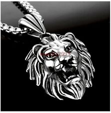 Men's Hot Sell Silver Rocker Stainless Steel Lion King Pendant Box Necklace New