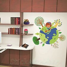 GLOBE THE EARTH KIDS ROOM WALL ART VINYL STICKERS HOME DECAL DIY DECOR DECALS